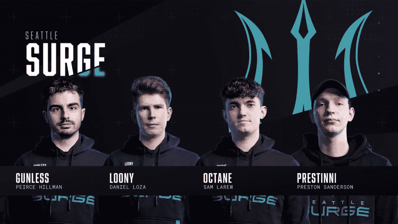 The roster for the Seattle Surge stand facing the camera against a black background. The team's logo, a stylized green trident appears behind them